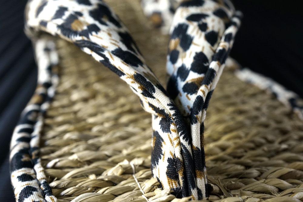 ムシロ草履いぐさサンダル女性用ヒョウ柄