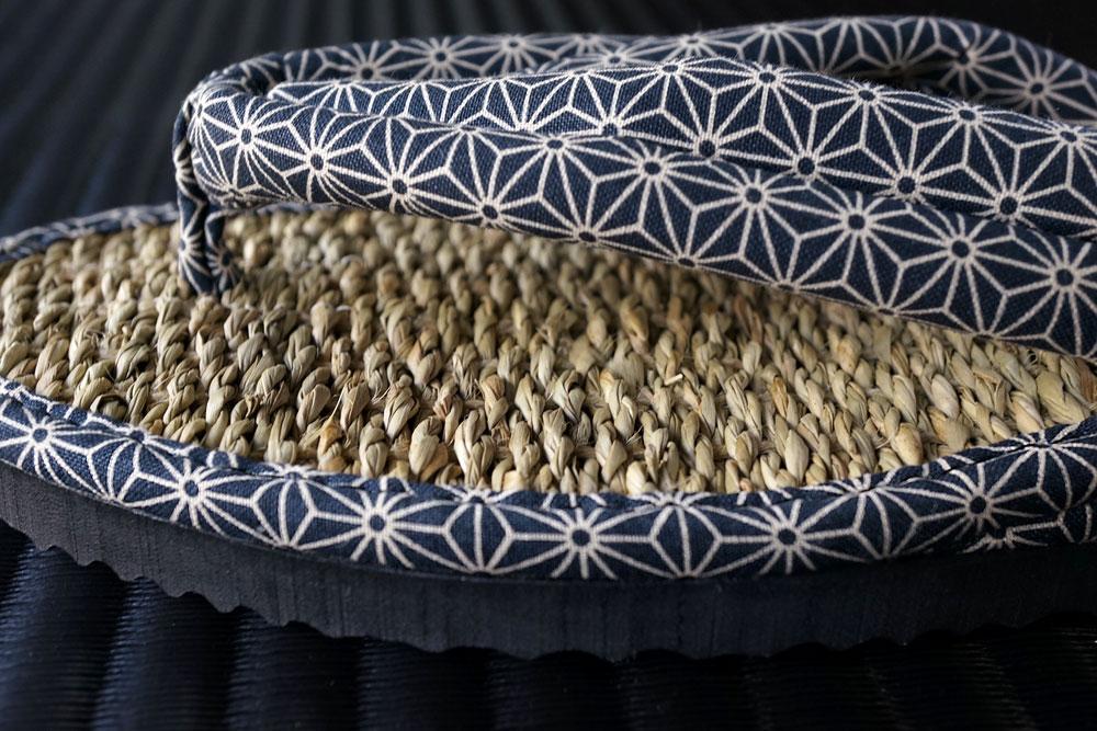 ムシロ草履い草サンダル麻の葉鼻緒