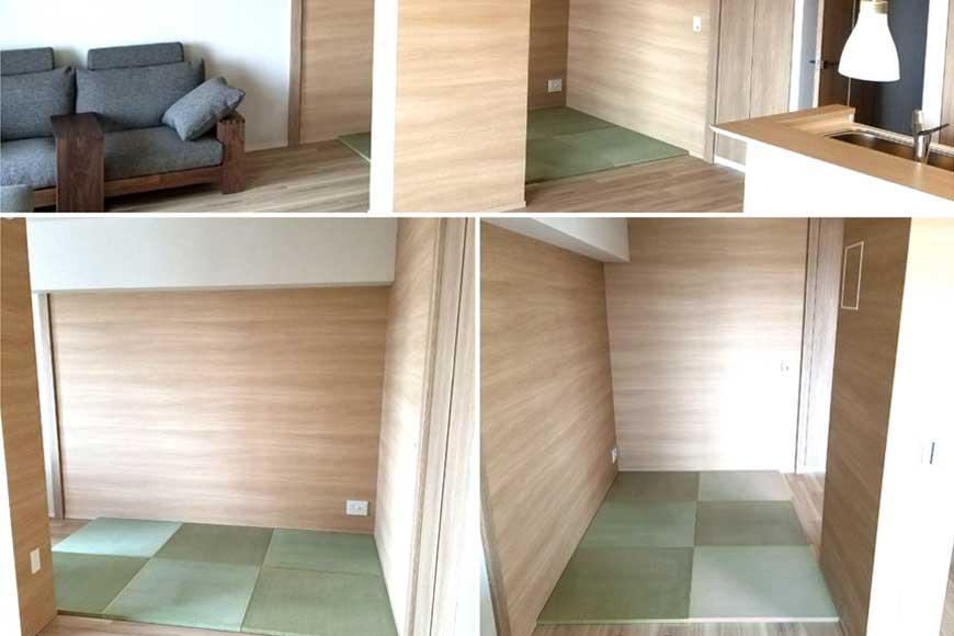 リビングの一角に畳を置いて和モダンな空間に