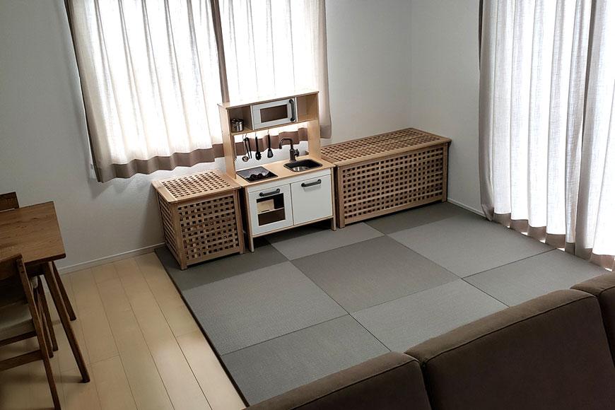 畳を敷いて雰囲気がガラッと変わりました:和紙製 置き畳 【清流】 銀鼠色