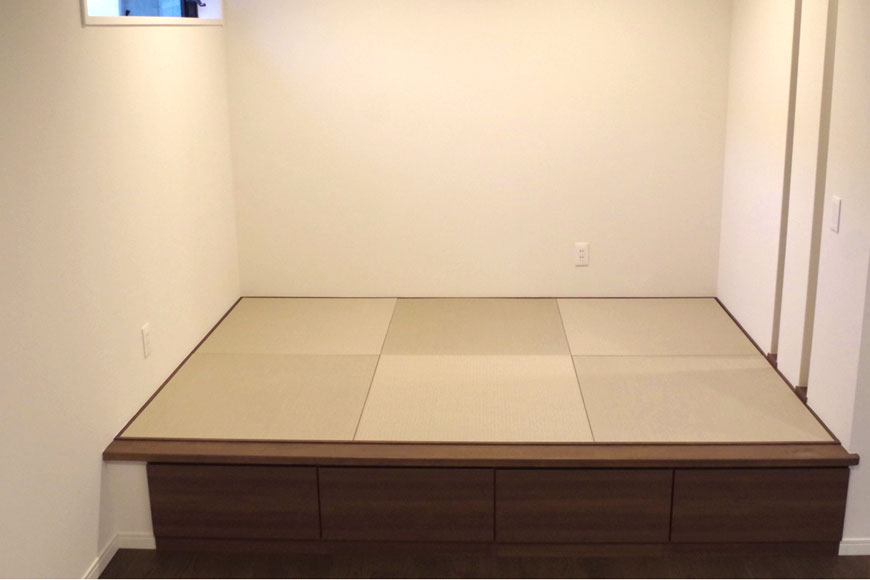 小上がりが理想通りの畳スペースになりました:置き畳【清流】灰桜色