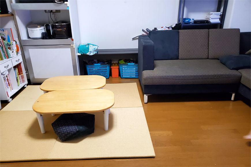 ダイニングテーブルをなくして、この畳とちゃぶ台にしました